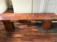 Solid Acacia wood dining table and bench