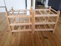 2x wooden wine racks