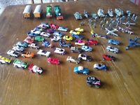 40 x Toy Micro Cars plus assorted other planes/railway engines and army vehicles