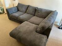 Dark grey jumbo cord corner sofa