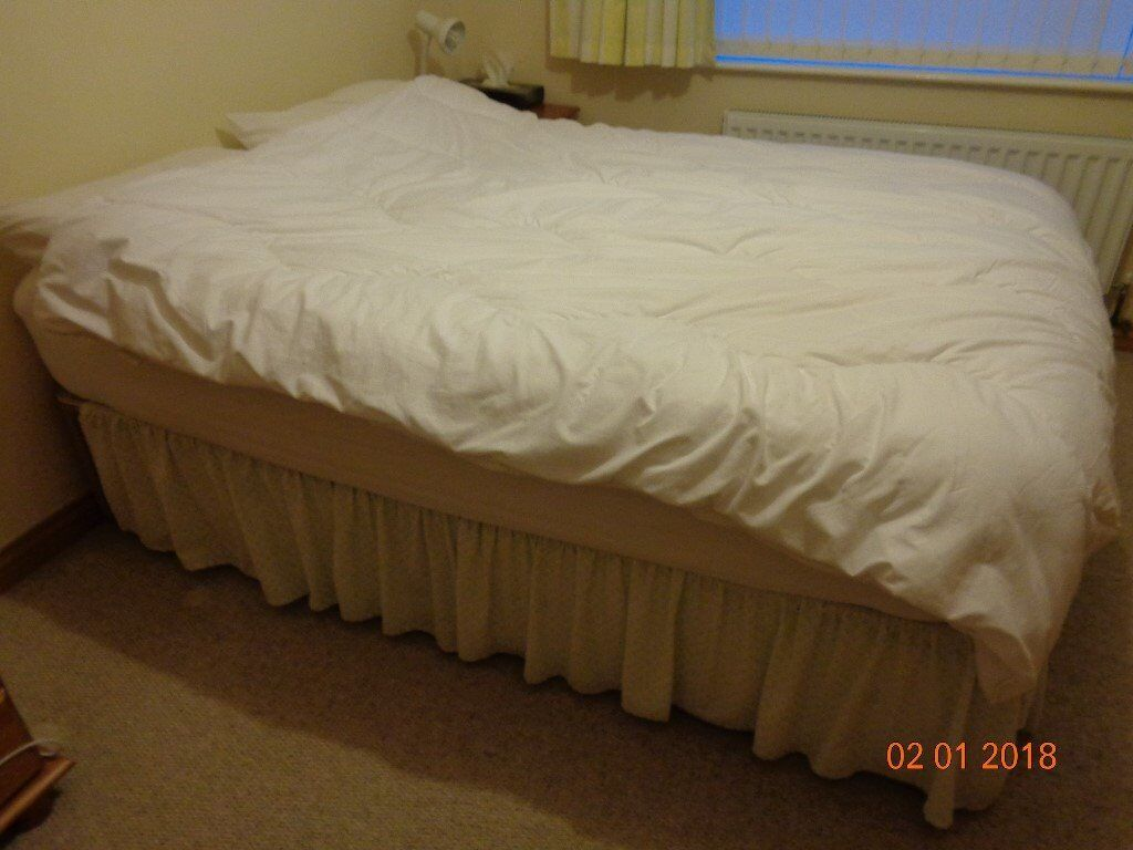 Double Bed: Solid Base Double Divan, with 4 Large Drawers, plus Pocket Sprung Mattress