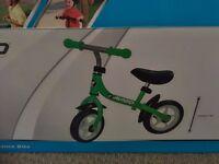 "Balance bike - Boxed 10"" Avigo green balance bike. Unused."