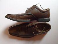 Clarks Flex 24/7 Brown Leather Mens Shoes - Size 8 (G)