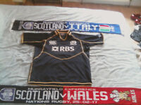 MUST GO BY TOMORROW Scotland home rugby shirt size xl 2 scotland rugby scarfs one with wales / italy