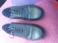 ladies black leather hush puppy brogues size 7 as new