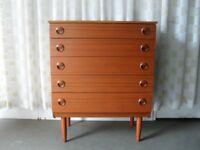 VINTAGE RETRO SCHREIBER TEAK VENEER FIVE DRAWER CHEST OF DRAWERS FREE DELIVERY
