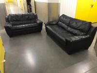 2x black genuine leather sofa, Free delivery