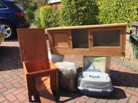Large & Small rabbit hutches, carry case and food