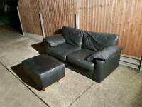Black leather 2 seater sofa free delivery