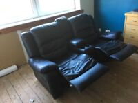 2 seat Black leather recliner.