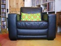 Large black leather armchair sofa chair
