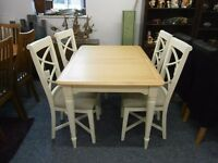 Beautiful quality and condition, ex-display, oak extending dining table and 4 chairs