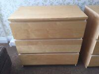 IKEA bedroom furniture - 2 x 3 drawers unit, 1 x 5 tall slim unit, 2 drawer bedside drawers