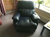 Electrically operated full leather recliner armchair with footrest, only 2 years old!