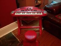 childs electric keyboard with stool