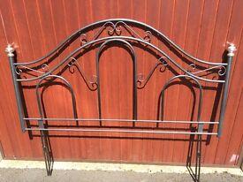 King size bed headboard. Metal frame type hammered metal finish.