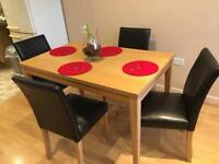 Dining table dinning table black leather brown 4 chairs oak wood solid