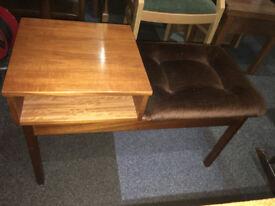 Stylish Vintage Retro Teak Telephone Phone Table Bench Entryway Padded Seat