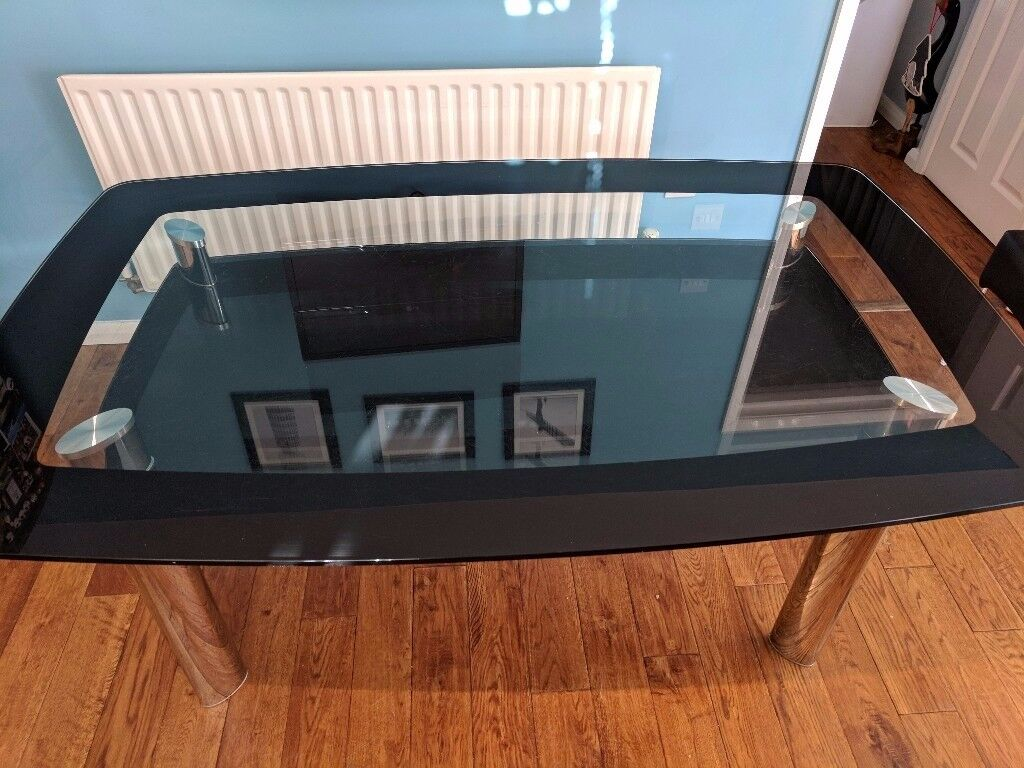 Black Glass Dining Table with Chrome Legs. Great condition