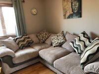 Large grey two tone sofa with scattered cushions.. Hardly used , sale due to house move .