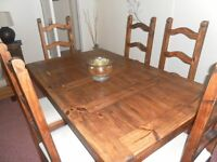mexican pine dining table and 6 chairs, display cabinet and sideboard