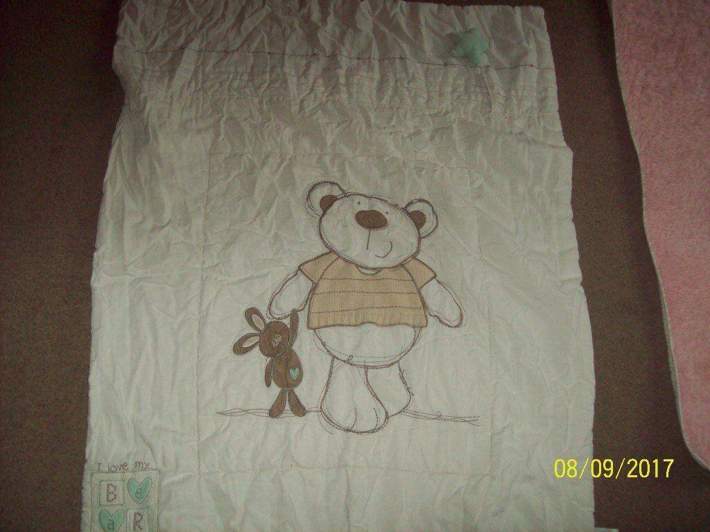 teddy cot duvet and bumper set