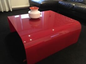 Barker and Stonehouse Red Glass Coffee Table
