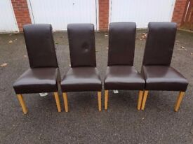 4 Dark Brown High Scroll Back Leather Chairs FREE DELIVERY 968