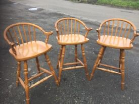 Top quality heavy solid pine set of three bar stools