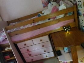 Girls Single midsleeper bed with chest of drawers and storage