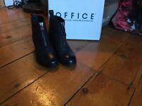 Black ankle boots, Office, size 5. Crimson front zip.