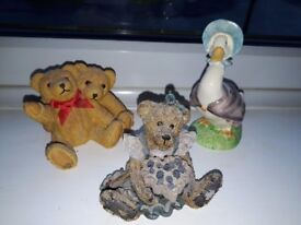 3 collectible figures teddies and Jemima Puddleduck