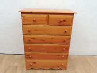 7 Drawer Tallboy pine wooden chest of drawers (Delivery possible)