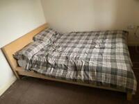 Ikea - Malm oak veneer - double standard bed frame (slatted base) and Sultan double spring mattress