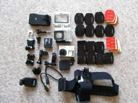 GoPro Hero4 Black Edition - nearly new with accessories & extras only used 3 times