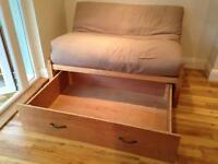 Futon sofa bed with drawer - good condition!