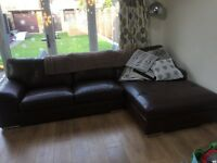 Brown leather scs sofa