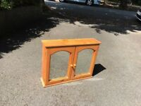 Double door mirrored pine bathroom cabinet