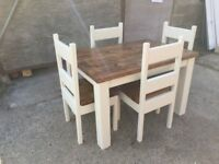 Chunky Rustic Solid Timber Dining Table with 4 Chairs, Painted