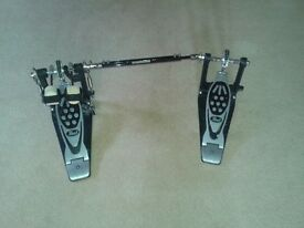 Left footed, pearl double bass pedal with case