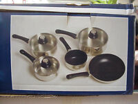 stainless steel non stick pan set brand new boxed, cannot be used on induction hobs,glass lids,brill