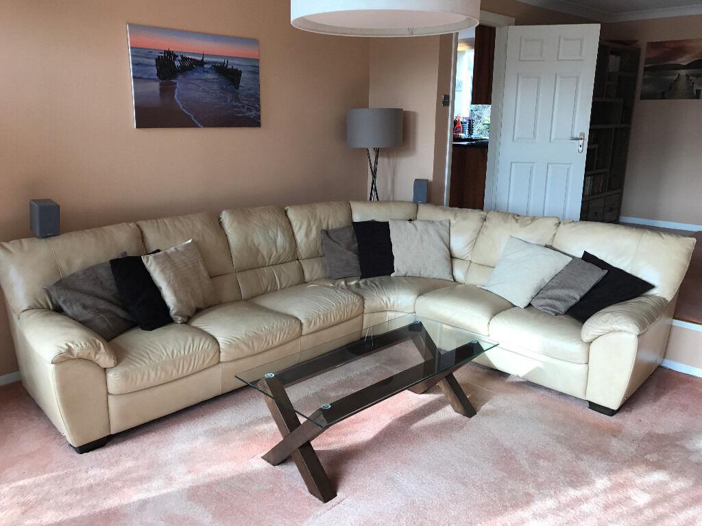 NATUZZI sand beige large leather corner sofa seats 6