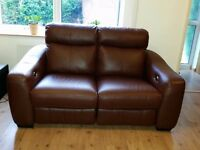 Brown real leather two seats sofa with two electric/power recliners only £250