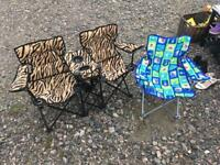 Kids camping chairs (foldable).