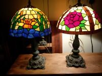 2 old tiffany style lamps