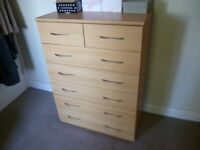 GERMAN BEECH BEDROOM 7 DRAWER FREE STANDING CHEST OF DRAWER UNIT