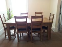 Solid Oak Extending Dining table + 6 chairs (seats 6, 8 or 10 people)