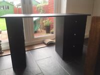 3 DRAWER BLACK DESK/DRESSING TABLE VGC
