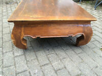 Low Teak Wood Coffee Table with Opium style legs from Thailand £80 o.n.o.