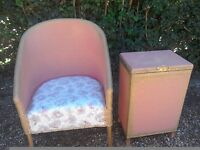 Vintage Lloyd Loom style chair and linen basket in good condition